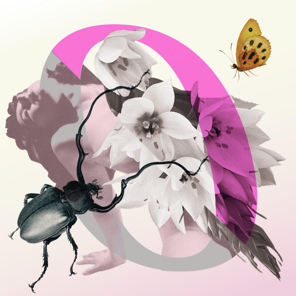 Dit is Ongehoord. De podcast over seksualiteit. Je ziet een roze o, met bloemen in het midden die een naakte vrouw bedekken. Links onderin een zwarte tor en rechts bovenin een gele vlinder met zwarte stippen.